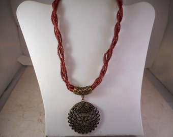 Brass Pendant Necklace With Brown Seed Beads