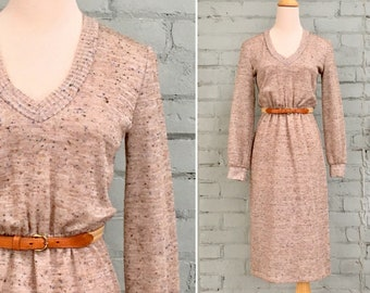 1970s beige knit dress / 70s sweater dress / 1970s midi day dress