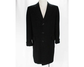 Men's Large Cashmere Coat - Handsome 1950s Black Mens Overcoat - 50s Winter Outerwear - Classic Tailoring - As Is Lining - Chest 46 - 47623