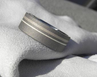 Wedding Ring, Titanium with White gold and Silver Stripes, Wedding Band, Sandblasted
