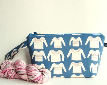 Wedge Bag, Small-Project Knitting Bag, My Favorite Sweater in blue