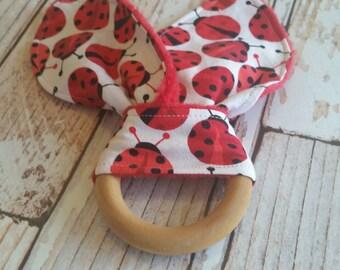 Teething Bunny - Ladybug Baby Teething Toy - Wooden Teething Toy - Wood Teething Ring - Baby Shower Gift - Bunny Ear Toy