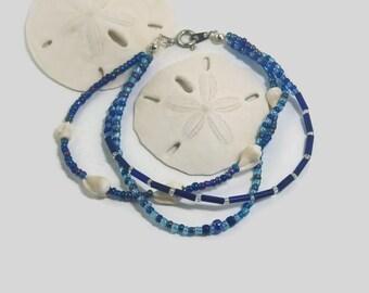 beach jewelry real seashells bracelet beach girl gifts sea shells bracelet beach bracelet ocean beachy bracelet blue sea shell
