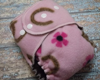 Petite Fleece AI2 Hybrid Fitted Hemp Cotton Cloth Diaper Flowers and Horseshoes 8-20 lbs