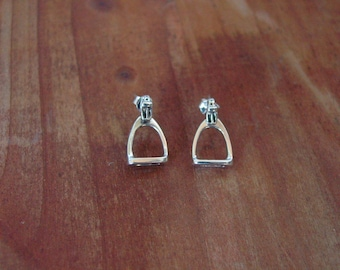 Stirrup Horse Stud Earrings Sterling Silver,Equestrian Jewelry,Stirrup Jewelry