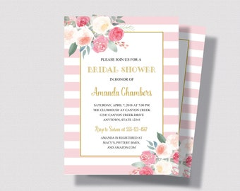 BLUSH PINK and GOLD Bridal Shower Invitation   Pink Stripe and Gold Watercolor Floral  with Roses   Shabby Chic Bridal Shower Invitation