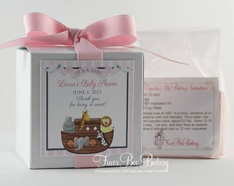 NOAH'S ARK ...One Dozen (12) Personalized Cupcake Mix Baby Shower Baby Sprinkle Favors