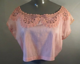 Victorian Camisole, Silk with Hand Crocheted Lace Shoulder/Sleeve Trim,  Some Stains, No Holes...Plus Size