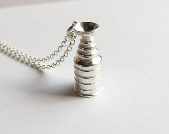 Sterling Silver Trophy Cup Hockey Necklace. Silver Hockey fan necklace. Silver Hockey Necklace. Hockey Mom Necklace. Men's Hockey Necklace.