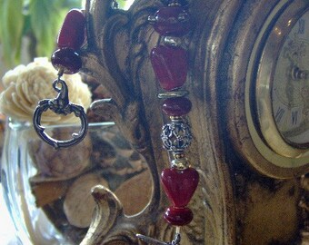Lampwork Bracelet - Artisan Lampwork and Sterling Silver Bracelet - Valentine's Day or Queen of Hearts - Inspired by Alice in Wonderland