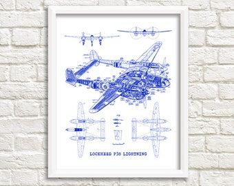 "P-38 Lightning blueprint, Instant Download, Lockheed P38, Aircraft Blueprints. P 38 Lightning wall art, Aviation Art, 8x10"", 11x14"""