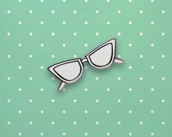 50's Glasses Hard Enamel Pin