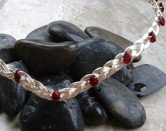 Celtic Wedding Tiara Arwen style in Silver and Garnet