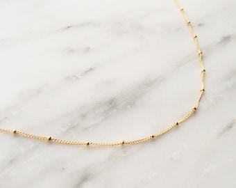 Gold Satellite Chain Necklace / Gold Satellite Necklace / Dainty Beaded Necklace / Bridesmaid Necklace