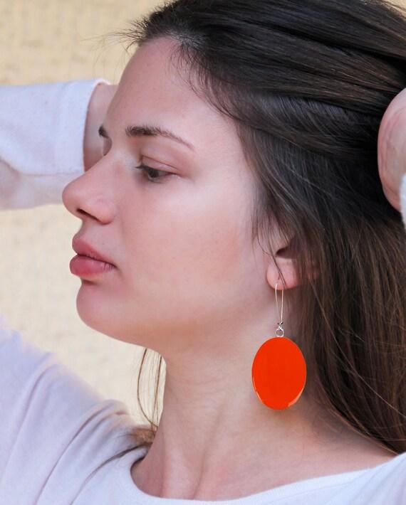 Tangerine orange earrings, statement earrings, orange resin earrings, modern minimalist, long lightweight earrings, color block jewelry