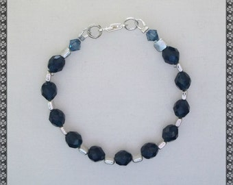 blue bracelet, dark blue bracelet, crystal bracelet, blue and silver, silver, blue