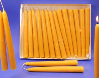 """100 Beeswax Candles, 50 Pair of 3/4"""" x 8"""" Hand Dipped Tapers,  Bulk Bees Wax Candles, Beeswax Candle Collection, 100 Wedding Candles"""