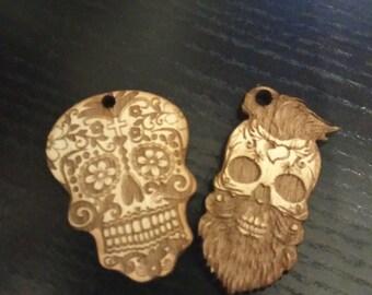 Laser cut sugar skull keychain
