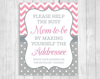 SALE Help the Busy Mom-to-Be 5x7 or 8x10 Printable Write Your Address Baby Shower Sign - Pink and Gray Chevron Polka Dots - Instant Download
