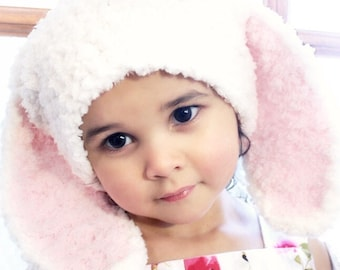 0 to 3m Newborn Bunny Hat, Infant Crochet Baby Hat, Cream Bunny Hat, Newborn Bunny Hat, Baby Pink Bunny Ears Photo Prop, Baby Gift