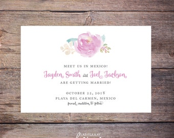 Floral Save the date, Postcard, Printable, Wedding invitation, Digital download, Printable save the date, Floral invitation – Jayden