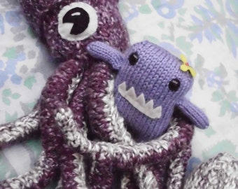Hand Knit Giant Squid-CUSTOM ORDER-choose your own colors