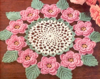 1950's Irish Rose Doily Vintage Crochet Pattern PDF Instant Download 066