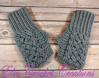 Ladies One Size Celtic Weave, Knot Fingerless Gloves in Grey - Hand Crochet and Ready to ship!
