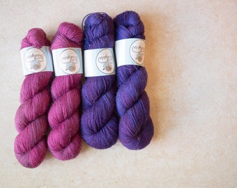 SALE - 4 skeins of BFL fingering - 2 Orchid + 2 Grape