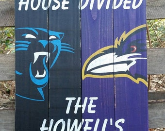 House Divided hand painted wood sign sport sign