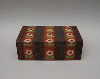 Carved Wood Box with Pink Flowers 1960s Vintage Decorative Wooden Storage Box Trinket Box