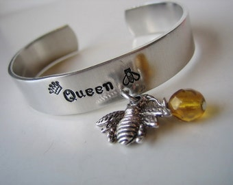 Bee Bracelet - Hand Stamped Cuff Bracelet - Queen Bee Cuff - Stamped Jewelry - Aluminum Bracelet - Bee Jewelry -Bee Cuff Bracelet - Gift