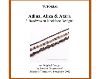 Beading Tutorial, 3 Necklace Designs - Adina, Aliza, Atara. Beadweaving Pattern with SuperDuo and Seed Beads. Beaded Chain Pattern PDF File