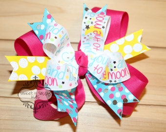 FERMETURE de magasin, Love You To The Moon & Back Hair Bow, étoiles