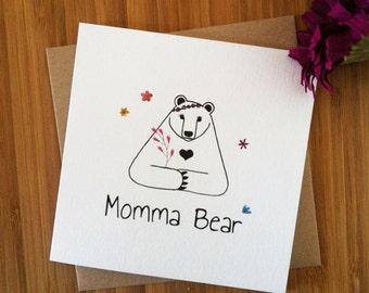Cute Mothers Day card | Momma Bear card | card for Mum, Mom, Mummy, Mumma | Greetings card hand drawn ink | Blank card, love card, Birthday