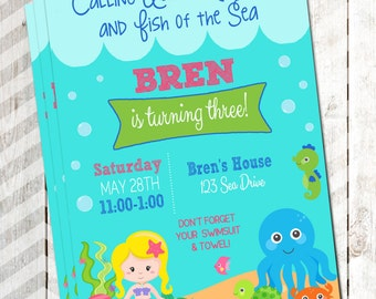 Under The Sea Birthday Party Invitation Mermaid Invitation Under the Sea Mermaid Invitation Mermaid Under the Sea Birthday Invitaiton