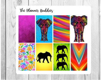 Elephants // Planner Stickers // Full Box Stickers // Elephant Stickers // Animal Stickers