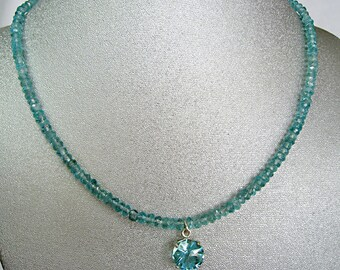 Apatite and Sterling Silver Necklace  **  FREE U.S. SHIPPING