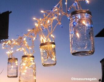 Fairy Lights Lanterns 6 DIY Mason Jar Hangers, Twist On Hanging Wide Mouth Mason Jar Lids, No Jars