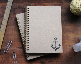 HARD COVER - Anchor - Letter pressed 5.25 x 7.25 inch journal