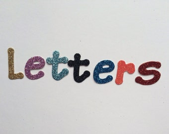 10 Glitter Cardboard Letters with an option for adhesive cardboard - Two sizes to choose from: 1 Inch / 3cm or 2 inches / 5cm tall