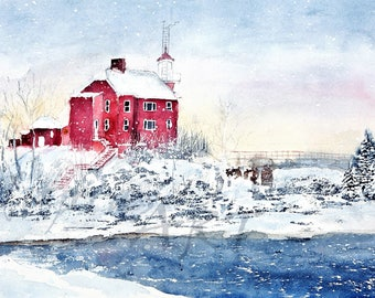 Winter Marquette Michigan Light House - a Watercolor Limited Edition Fine Art Giclee Print - Lake Superior