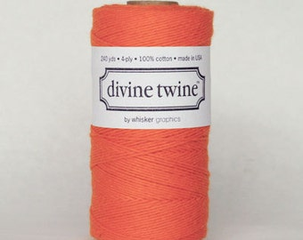 SALE 20% OFF - Solid ORANGE Divine Twine 240 Yards Spool of Bakers Twine by Whisker Graphics