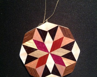 Wood Quilt ornament, Rolling star pattern