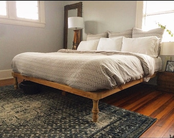 The Wylee Fox Platform Bed (platform bed, king bed frame, rustic bed, wood bed, bed frame with legs, platform bed frame)
