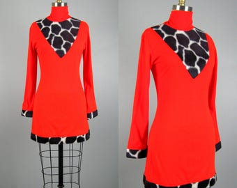Vintage 1960s Mod GoGo Dress 60s Red Knit and Faux Fur Cow Print Sexy Mini Dress Tunic Size 6/8 M
