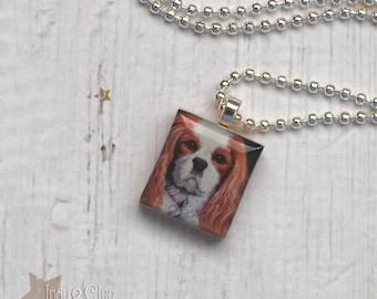 Cavalier King Charles Spaniel Scrabble Necklace, Handmade Dog Scrabble Pendant, Dog Art, Wood Tile, Dog Lover Gift, CLEOPATRA the Cavalier