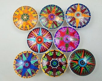 Set of 8 Colorful Compass Rose Oversized Cabinet Knobs