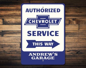 Service Garage Sign, Chevrolet Sign, Chevrolet Gift, Custom Sign for Chevy Garage Decor, Garage Arrow Sign -Quality Aluminum Sign ENS1002695