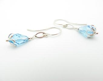 Handmade Swarovski Crystal in Light Baby Blue and Sterling Silver Earrings